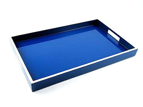 Lacquer Breakfast Tray 22 x 14 True Blue with White Trim - LIFE MODERNE