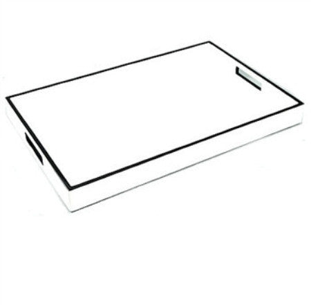 White Lacquer with Black Trim Tray | 22 x 14 - LIFE MODERNE