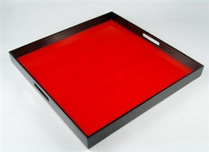 Red Tulipwood and Black Lacquer Serving Tray - LIFE MODERNE