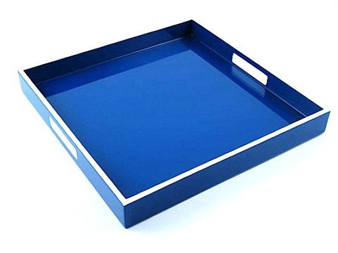 Square Lacquer Tray | 16 x 16 | True Blue with White Trim - LIFE MODERNE