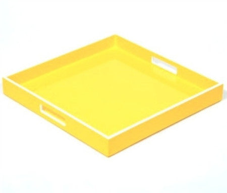 Square Yellow with White Trim Lacquer Tray | 16 x 16 - LIFE MODERNE