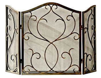 Bronze Flare Scroll Mesh Firescreen - LIFE MODERNE