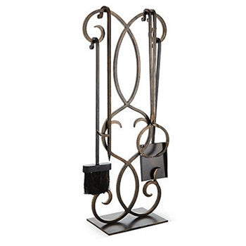 Bronze Scroll Fire Tool Set - LIFE MODERNE