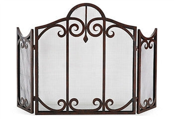 Pewter Scroll Mesh Firescreen - LIFE MODERNE