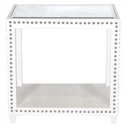 Olivia White Lacquer Studded Side Table - LIFE MODERNE