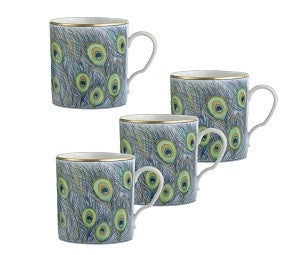 Mottahedeh Peacock Feathers Mugs | Set of 4 - LIFE MODERNE