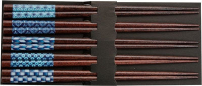 Blue Patterns on Dark Wood Japanese Chopsticks Set of 5 Pairs - LIFE MODERNE