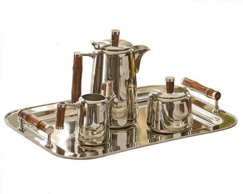 Nickle Tea Set with Bamboo Handle w/Tray - LIFE MODERNE
