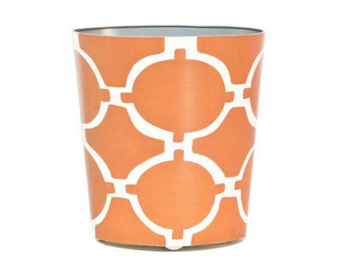 Acadia Orange and Cream Oval Wastebasket - LIFE MODERNE
