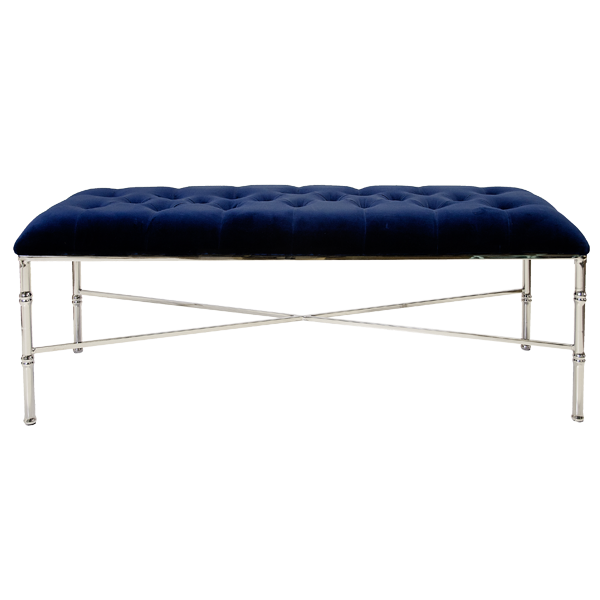 STELLA NICKEL PLATED BAMBOO BENCH | NAVY