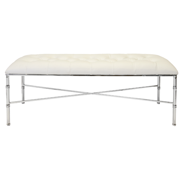 STELLA NICKEL PLATED BAMBOO BENCH | WHITE