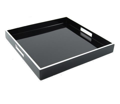 Black Lacquer with White Trim Serving Tray 22 x 22 - LIFE MODERNE