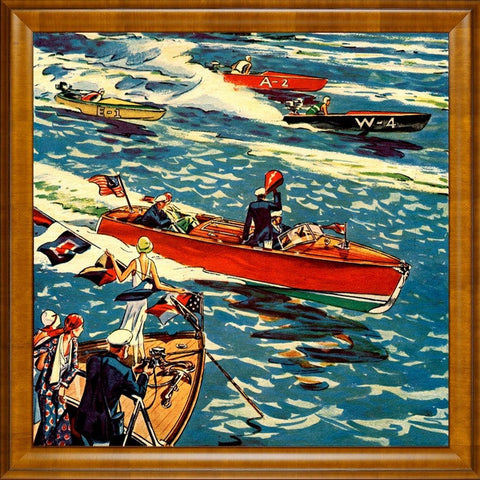Boat Racing framed Giclee print