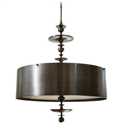 Global Views Turned Pendant Chandelier, Antique Bronze, Small - LIFE MODERNE