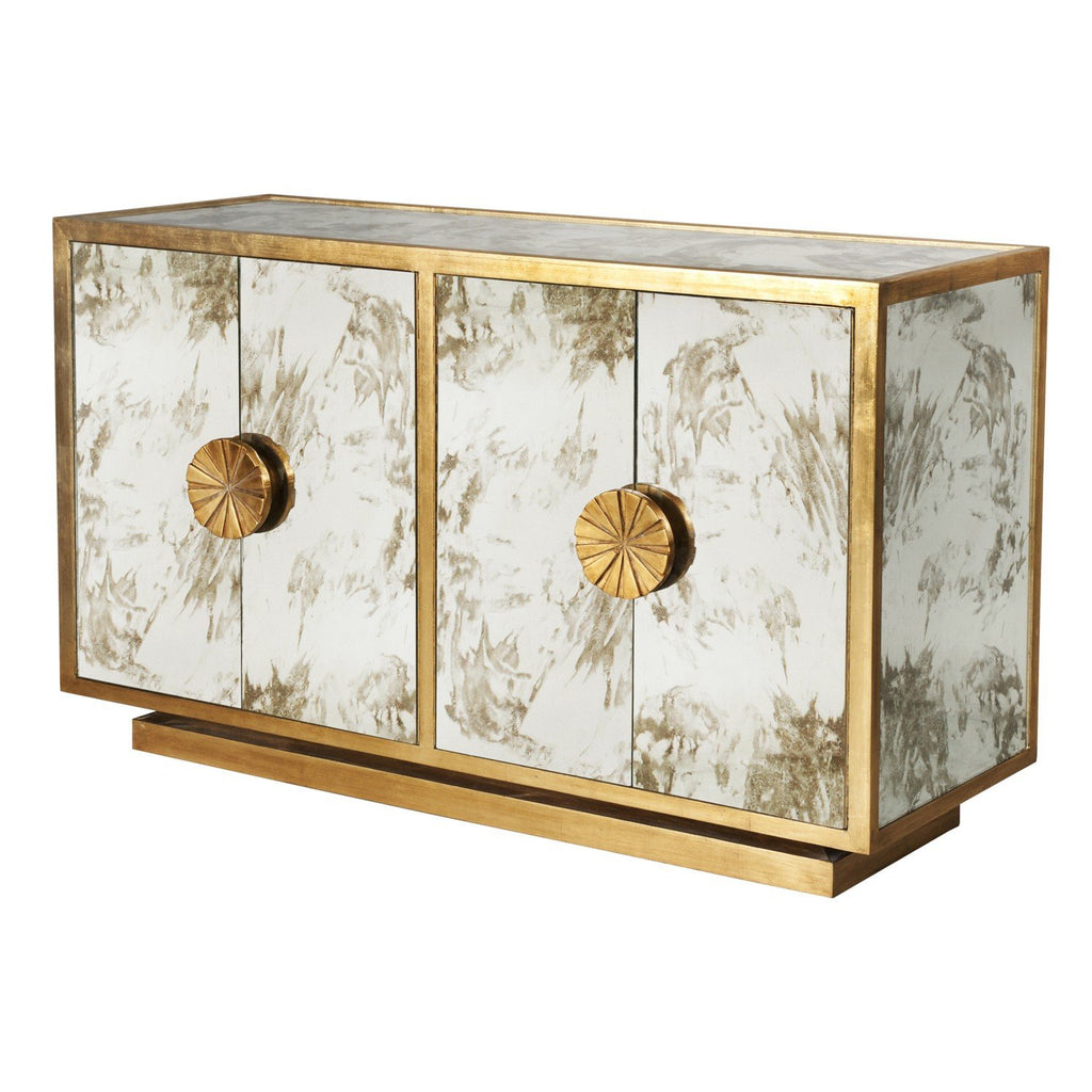 Calypso Mirror Cabinet in Gold Leaf - GDH | The decorators department Store