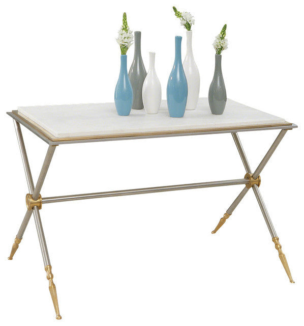 Global Views | Campaign Cocktail Table-Nickel and White Marble - LIFE MODERNE