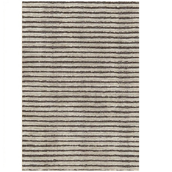 Cut Stripe Grey Hand Knotted Rug - LIFE MODERNE