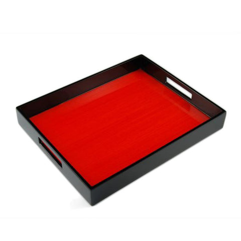 Red Tulipwood Inlay with Black Lacquer Breakfast Tray - LIFE MODERNE