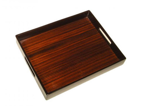 Rosewood Inlay with Brown Lacquer  Breakfast Tray 14 x 22 - LIFE MODERNE