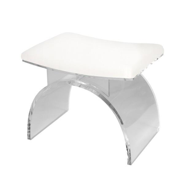 MARLOWE LUCITE ARCHED STOOL| WHITE