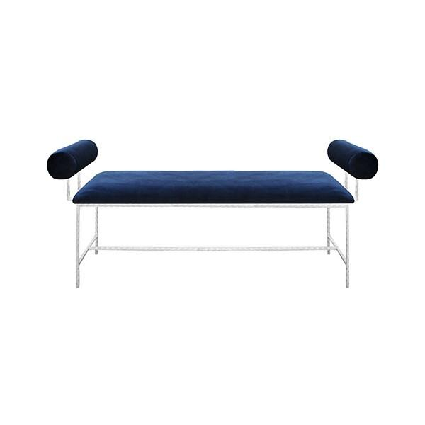 BOLSTER ARM SILVER LEAF BENCH IN NAVY VELVET - GDH | The decorators department Store