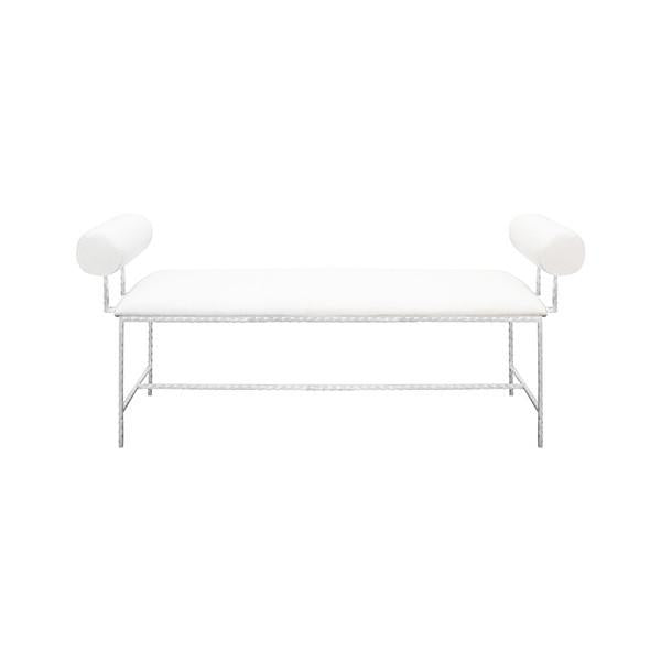 BOLSTER ARM SILVER LEAF BENCH IN WHITE LINEN - GDH | The decorators department Store
