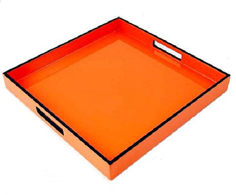 Orange and Black Lacquer Serving Tray - LIFE MODERNE