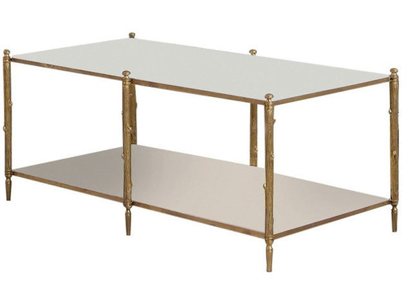 Global Views | Arbor Cocktail Table-Brass and White Marble - LIFE MODERNE