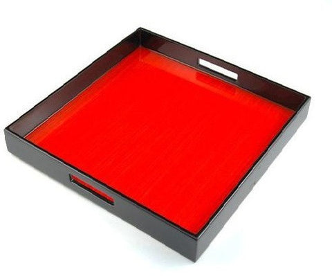 Red Tulipwood Inlay and Black Lacquer SquareTray - GDH | The decorators department Store