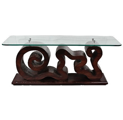 Spiral Suar Wood Coffee Table - LIFE MODERNE