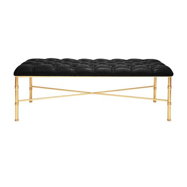 STELLA GOLD LEAFED BAMBOO BENCH | Black