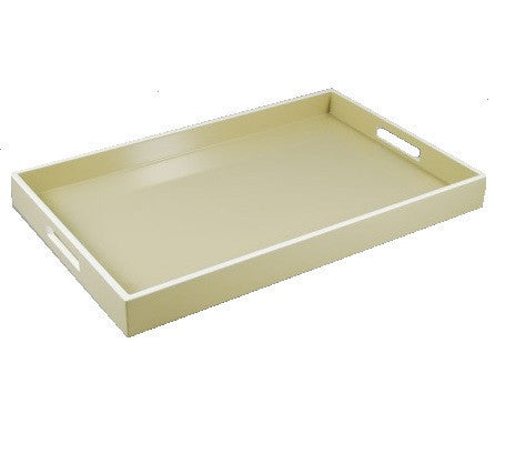 Serving Tray-Taupe with White Trim 14 x 22 - LIFE MODERNE