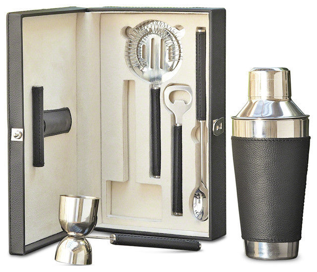 Boxed Bar Tool Set-Leather Black/Stainless Steel - GDH | The decorators department Store