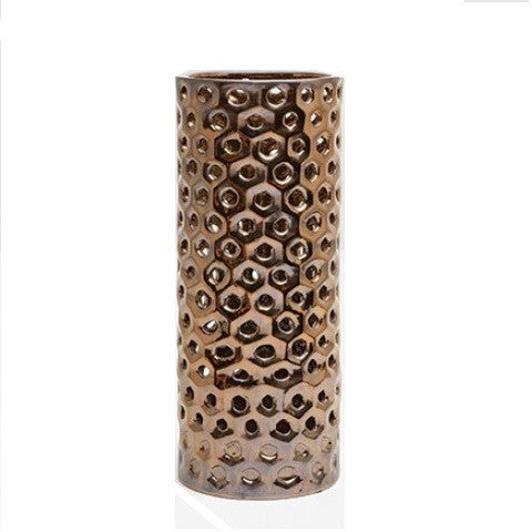 Edmonton Large Ceramic Umbrella Stand Crackled Gold - LIFE MODERNE