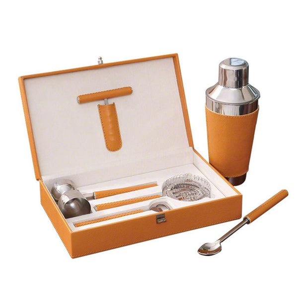 Boxed Bar Tool Set-Leather Camel/Stainless Steel - LIFE MODERNE