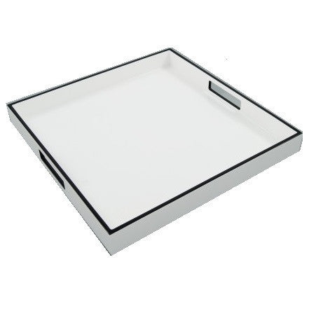 Square White with Black Trim Lacquer Tray - LIFE MODERNE