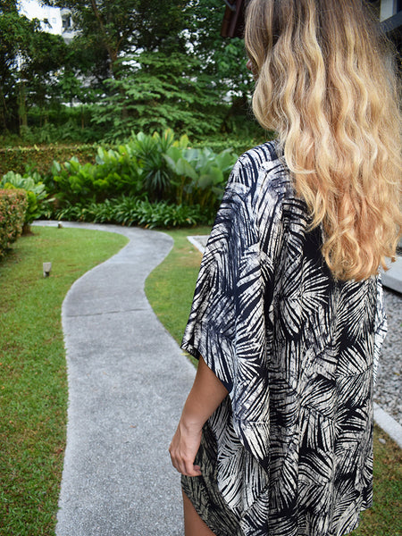 Palm Leaves Midi Silk Kaftan