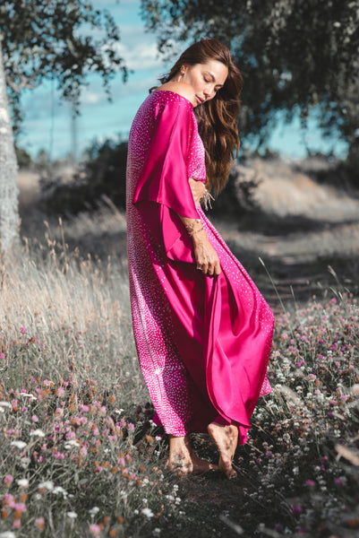 Long Fuchsia Silk Satin Kaftan