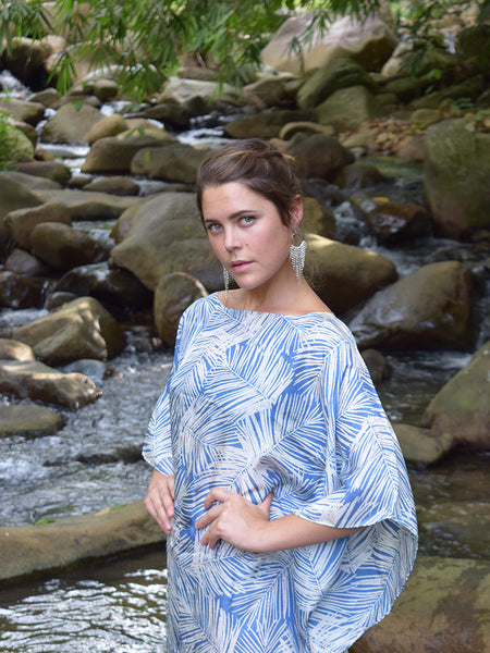 Palm Leaves Crop Silk Kaftan