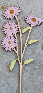 Hand Painted Wooden Aster Flower Stem