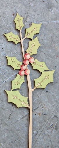Hand Painted Wooden Holly Stem
