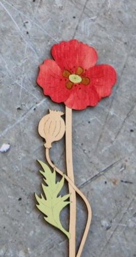 Hand Painted Wooden Poppy Flower Stem
