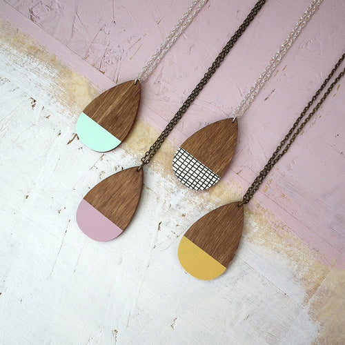 Wooden Teardrop Necklace