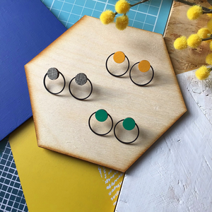 Double Hoop Geometric Stud Earrings