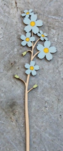 Hand Painted Wooden Forget Me Not Stem