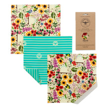 Beeswax Wrap Cheese Pack/3 Medium Wraps - Choice of Designs