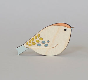 Goldcrest Hand Painted Wooden Brooch