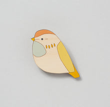 Fieldfare Hand Painted Wooden Brooch