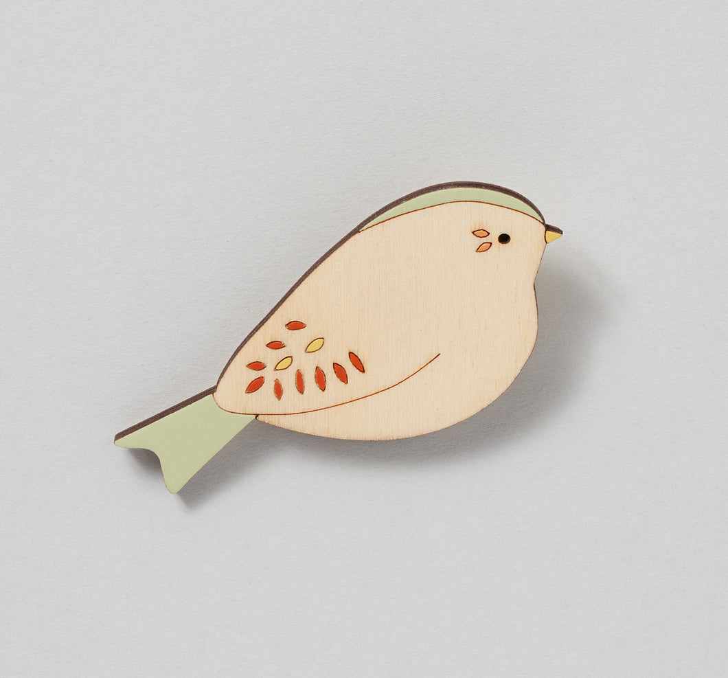 Bunting Hand Painted Wooden Brooch