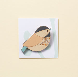 Coal Tit Hand Painted Wooden Brooch